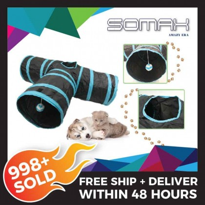 Somax Store !! 【Fast Shipping】 Pet Cat Dog Collapsible 3 Way Pet Crinkly Sounds Agility Train Tunnels and Tubes Toy PET TOY