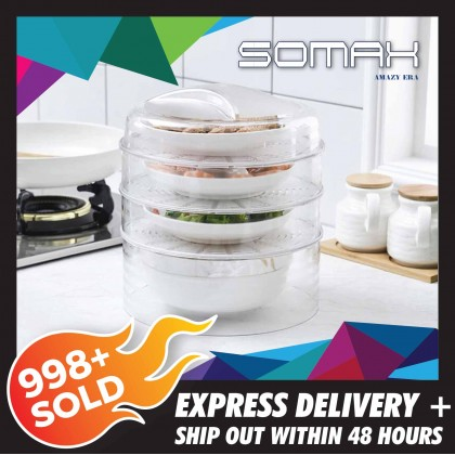 Somax Store !! Stackable Transparent Plastic Insulated Dish Cover Thicken Dust-proof Anti-mosquito Heat Preservation