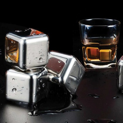 Somax Store !!  Malaysia Reusable SUS 304 Stainless Steel Rust-Free Ice Cubes Cold Whiskey Wine Chillers FREE Box