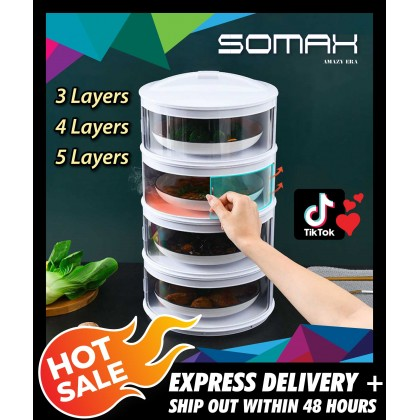 Somax Store !! Ready Stock Food cover Transparent Stackable Food Insulation Cover Dustproof for Home Kitchen Refrigerator Insulation Dish Cover