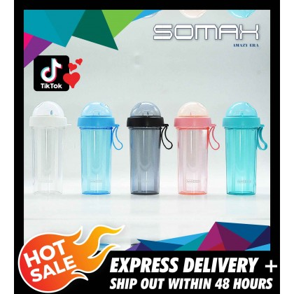 Somax Store !! 600ml Double-tube opening design Kitchen Supplies Outdoor Travel Creative Dual-use Water Bottle Drinking Cup Couples Gift
