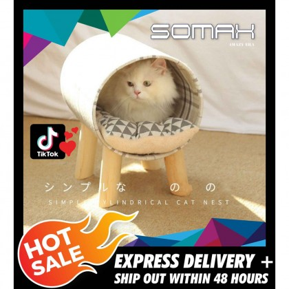 Somax Store !! 2021 New Pet Supplies Simple Cat Wooden Cylinder Cat Litter Cat Bed Four Seasons Universal Cat Roller Toy